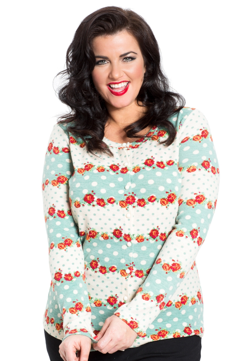 631e05ed7f1 Charity Floral Knit Plus Size Cardigan | Vintage Inspired Fashion ...