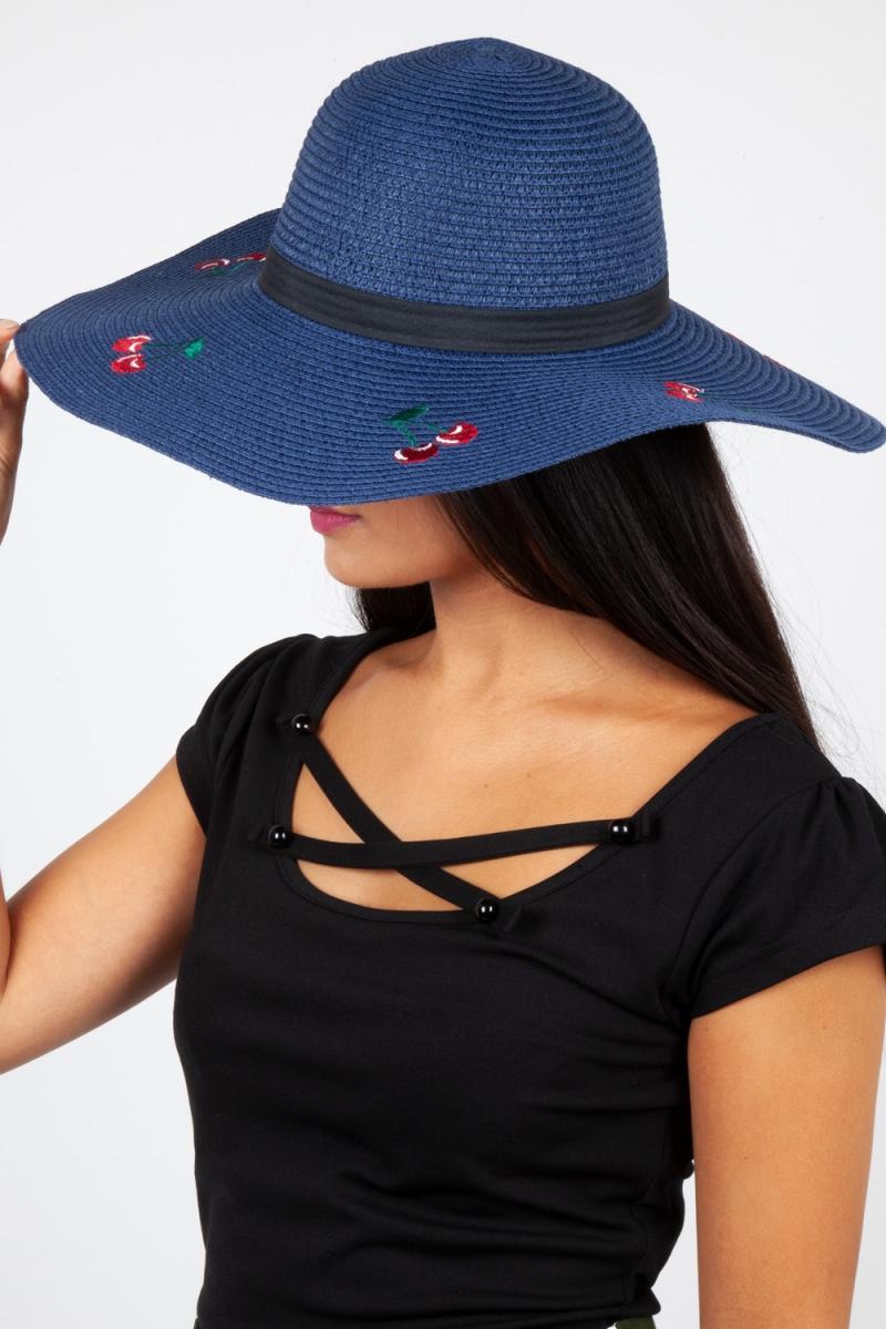 Cherry Sun Hat Navy | Vintage Inspired Fashion & Accessories | 40s