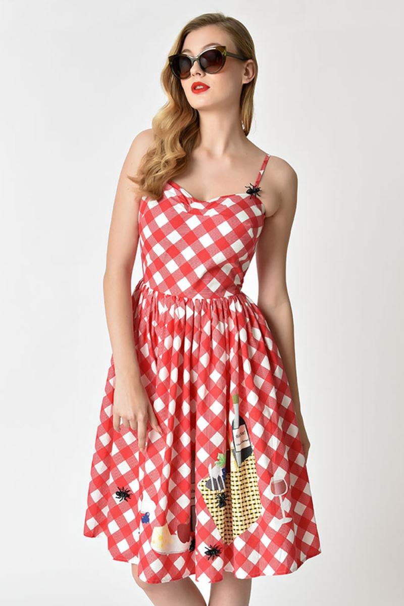 a1451fe7ef Darcy Gingham Picnic Blanket Swing Dress by Unique Vintage | Vintage ...