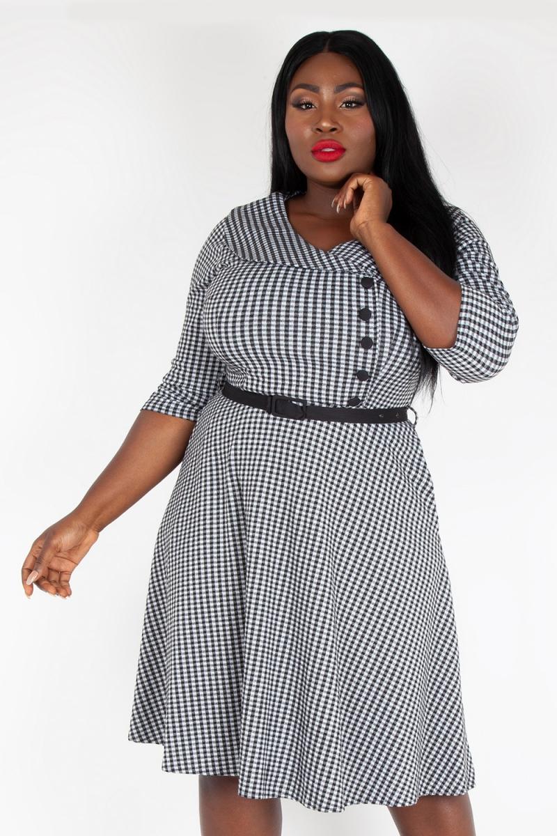 Aubrey Houndstooth Plus Size Flared Dress | Vintage Inspired Fashion ...