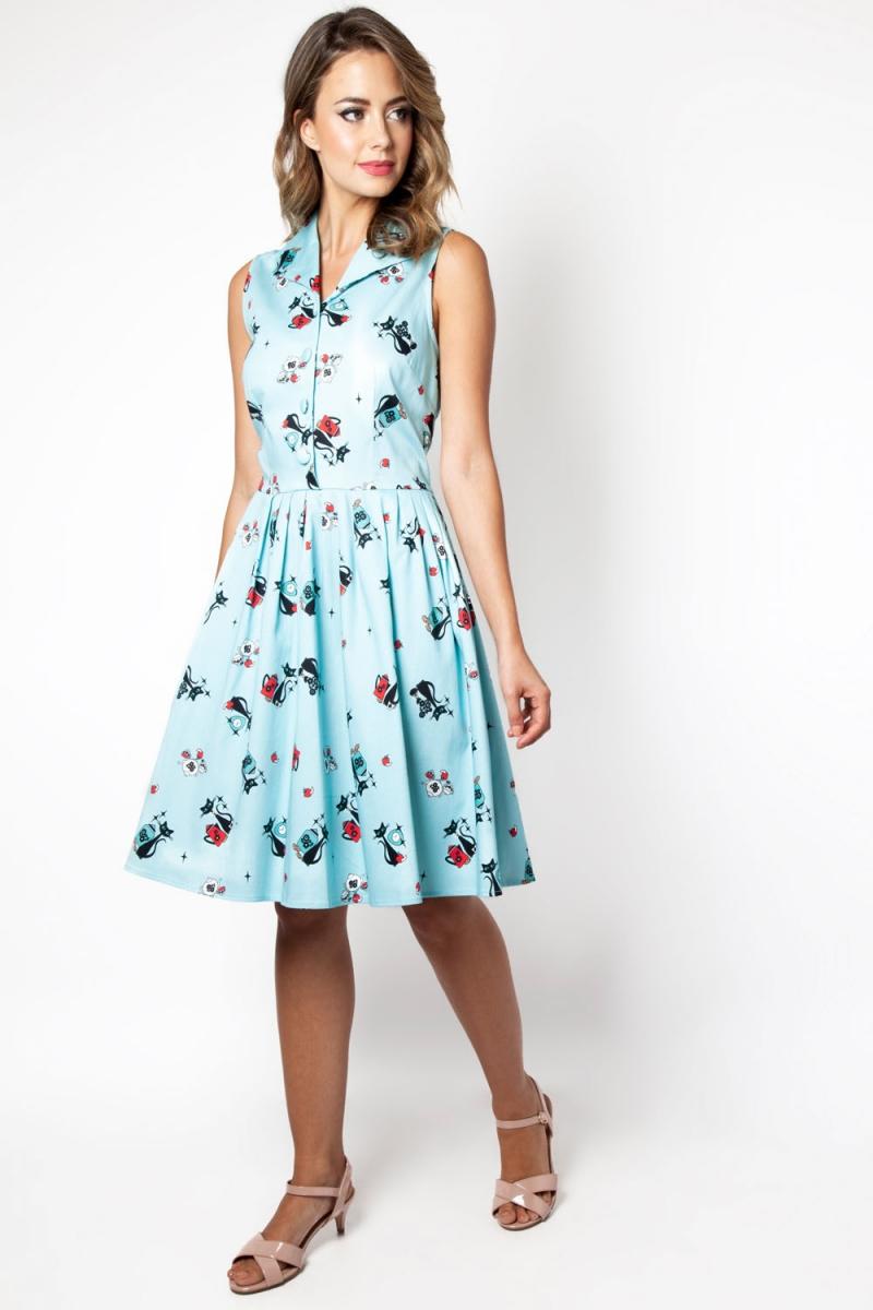 4248d850 Betty Kitchen Kitty Print Shirt Dress | Vintage Inspired Fashion ...