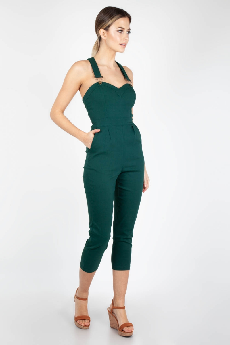 4726be44392f1 Connie Fitted Capri Overalls Green Plus Size | Vintage Inspired ...