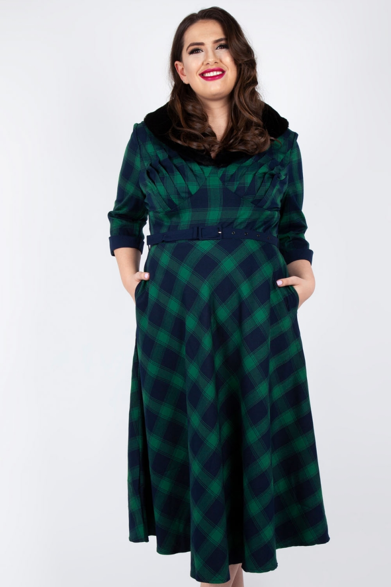 Lola Tartan Flare Dress Plus Size   Vintage Inspired Fashion ...