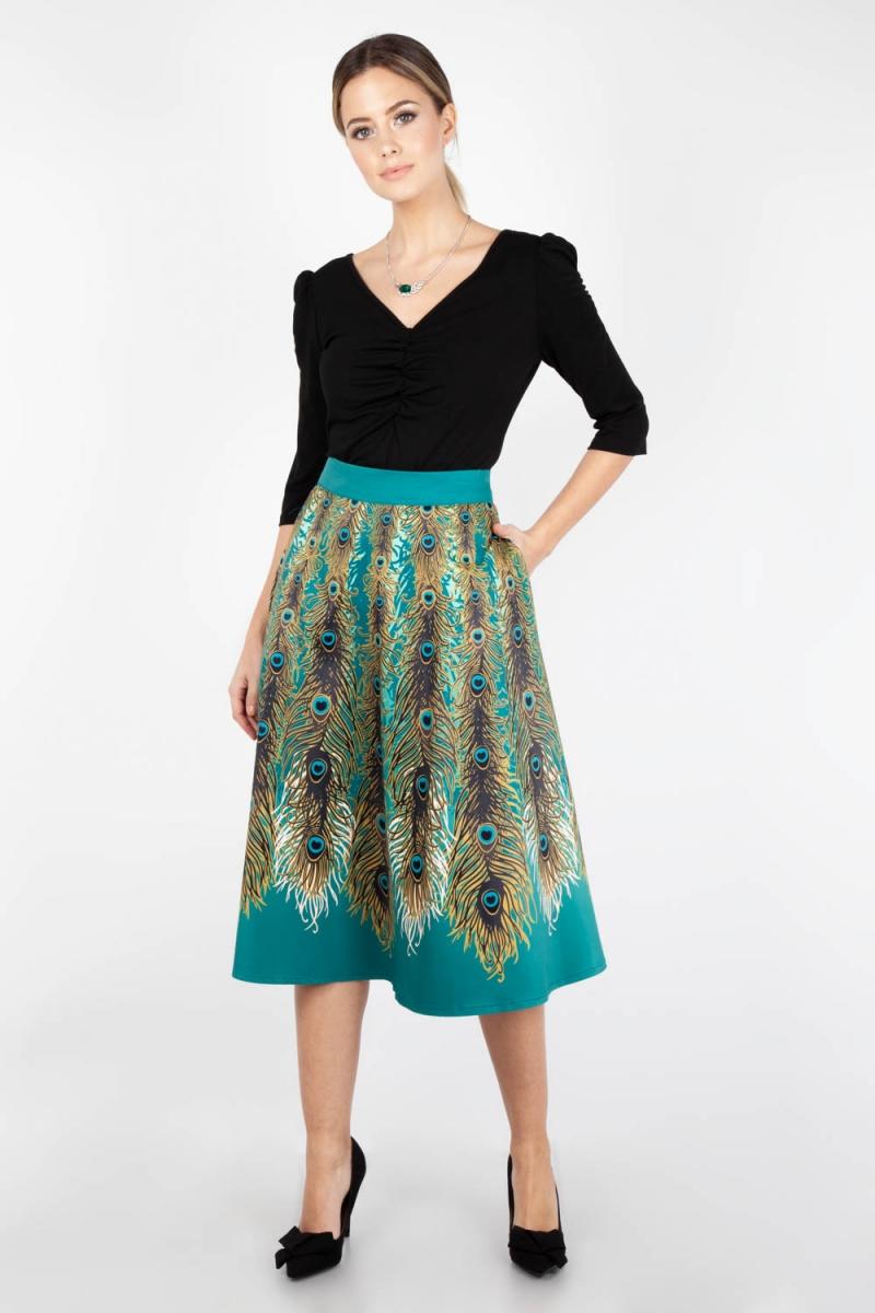 Voodoo Vixen Vintage Inspired Nicole Peacock Feather Skirt