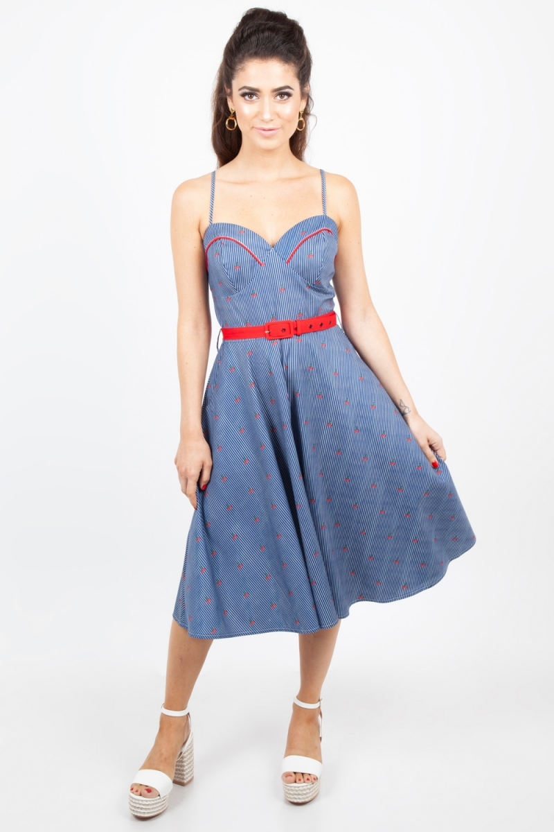 be964092bd Shelley Cherry and Stripe Flared Dress   Vintage Inspired Fashion ...