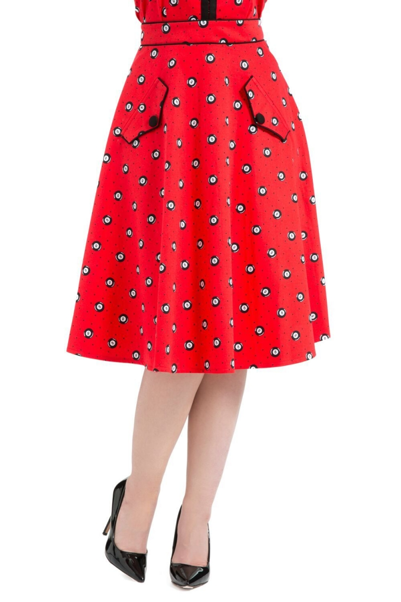 ea82d1785 Luella Eight-Ball Red Skirt | Vintage Inspired Fashion & Accessories
