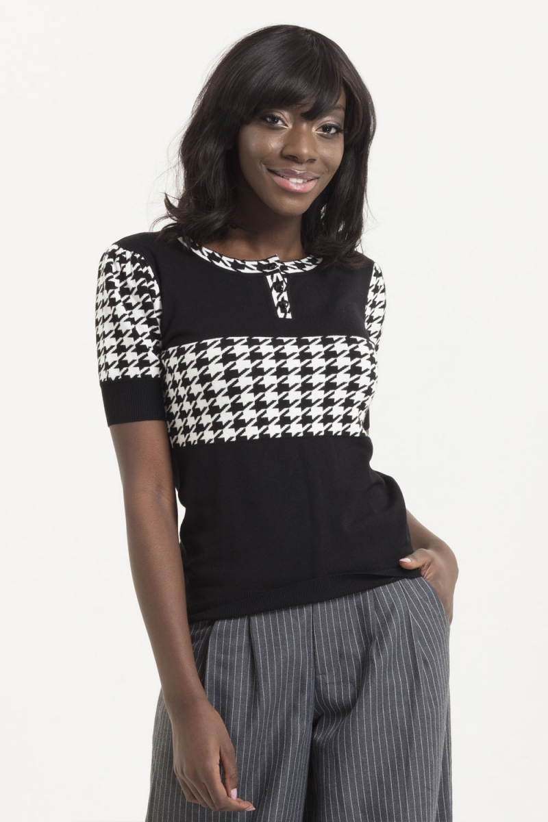 5b7b3ff764 Kimberly Houndstooth Sweater | Vintage Inspired Fashion ...