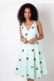 Maureen Watermelon Emboidery Flared Dress