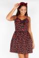 Polly Black Cherry Print Bow Dress