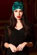 Teal Vintage Style Velvet Turban