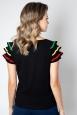 Voodoo Vixen Maria Black Fiesta Ruffle Sleeve Sweater