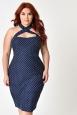 Penelope Polka Dot Plus Size Wiggle Dress by Unique Vintage