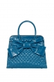 Wrapped In a Bow Blue Diamond Stitch Quilted Bag