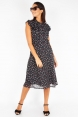Cheryl Cherry Print Black Tea Dress