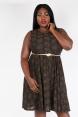 Sophia Vintage Inspired Leaf  Plus Size Dress