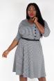 Aubrey Houndstooth Plus Size Flared Dress
