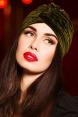 Olive Green Velvet Vintage Style Turban