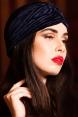 Navy Velvet Vintage Style Turban