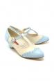 Ione Pale Blue Low Heel T-Bar Shoes by B.A.I.T