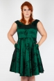 Lily Green Taffeta Flared Plus Size Dress