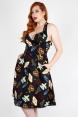 Lucy Vegas Print Black Flared Dress