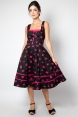 Nicki Lipstick Halter Neck Flared Dress