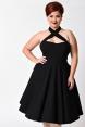 Rita Plus Size Black Flare Dress by Unique Vintage