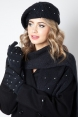 Dazzle Black Beret, Scarf & Glove Set
