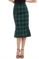 Agnes Pleated Hem Pencil Black/Green Skirt