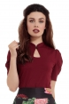 Dita Burgundy Keyhole Cut-out Top