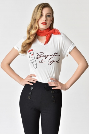 White 'Baguette It Girl' T-Shirt by Unique Vintage