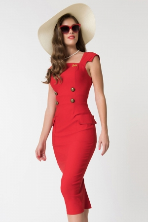 Barbie Sensation Red Wiggle Dress by Unique Vintage