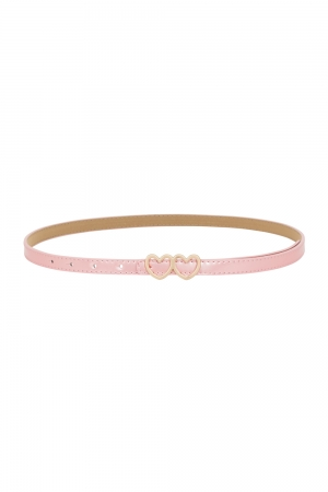 Pink Patent Heart Buckle Belt