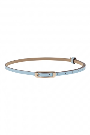 Slim Belt With Gold Buckle Blue