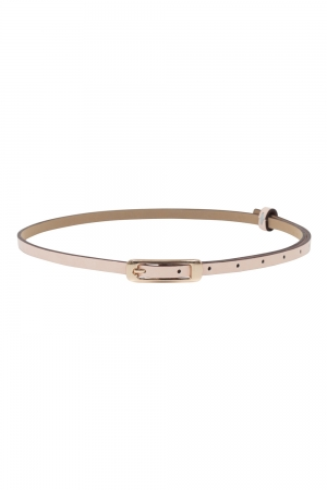 Slim Belt With Gold Buckle Natural