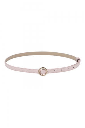Slim Patent Belt With Round Buckle Pink