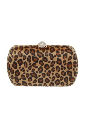 Lila Leopard Clutch Bag
