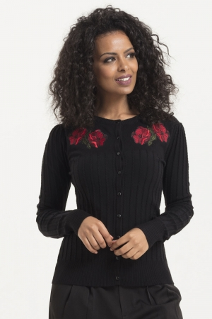 Faith Black And Poppy Cardigan