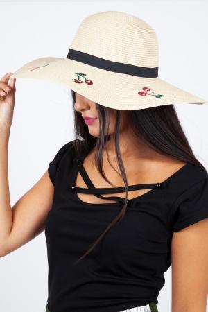 Cherry Sun Hat Brown