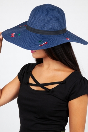 Cherry Sun Hat Navy