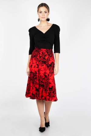Chloe Black and Red Rose Skirt