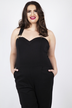 Connie Fitted Capri Overalls Black Plus Size