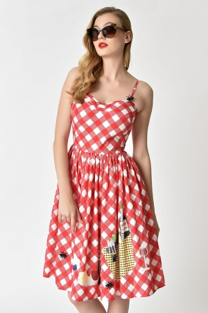 Darcy Gingham Picnic Blanket Swing Dress by Unique Vintage