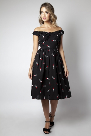 Delia Lipstick Emboidery Flared Dress