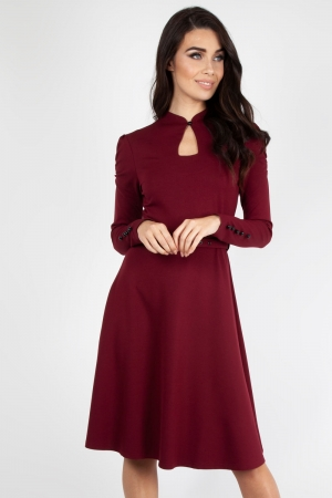 Dita 50s Flared Burgundy Dress With Cut-out