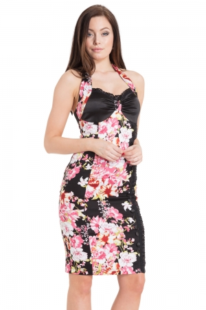 Mary Black Floral Halterneck Dress