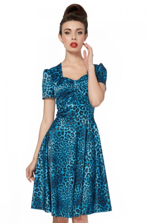 Camille Blue Leopard Print Dress