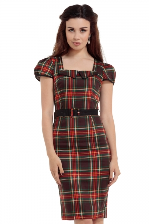 Daphne Tartan Puff Sleeve Pencil Dress