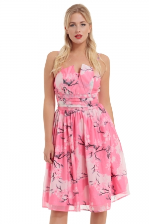 Clara Pink Dress with Neckline Detail