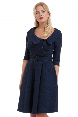Lilly Blue Off Centre Collar Dress